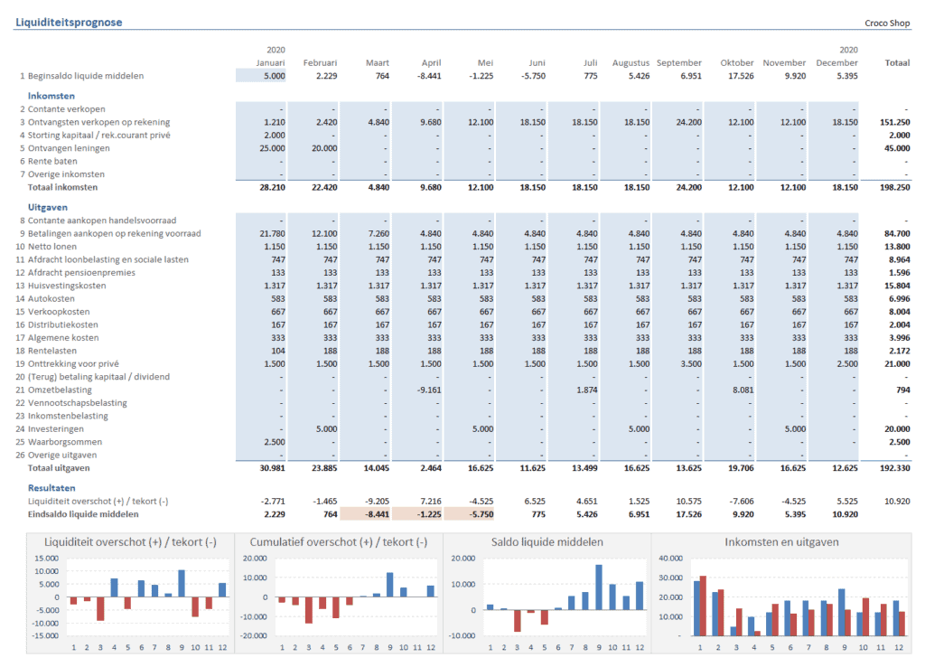 Liquiditeitsprognose 12 maanden