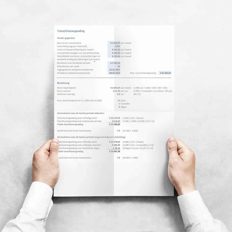 Transitievergoeding berekenen Excel - Werk & Inkomen Toolkit voor werkgevers én werknemers