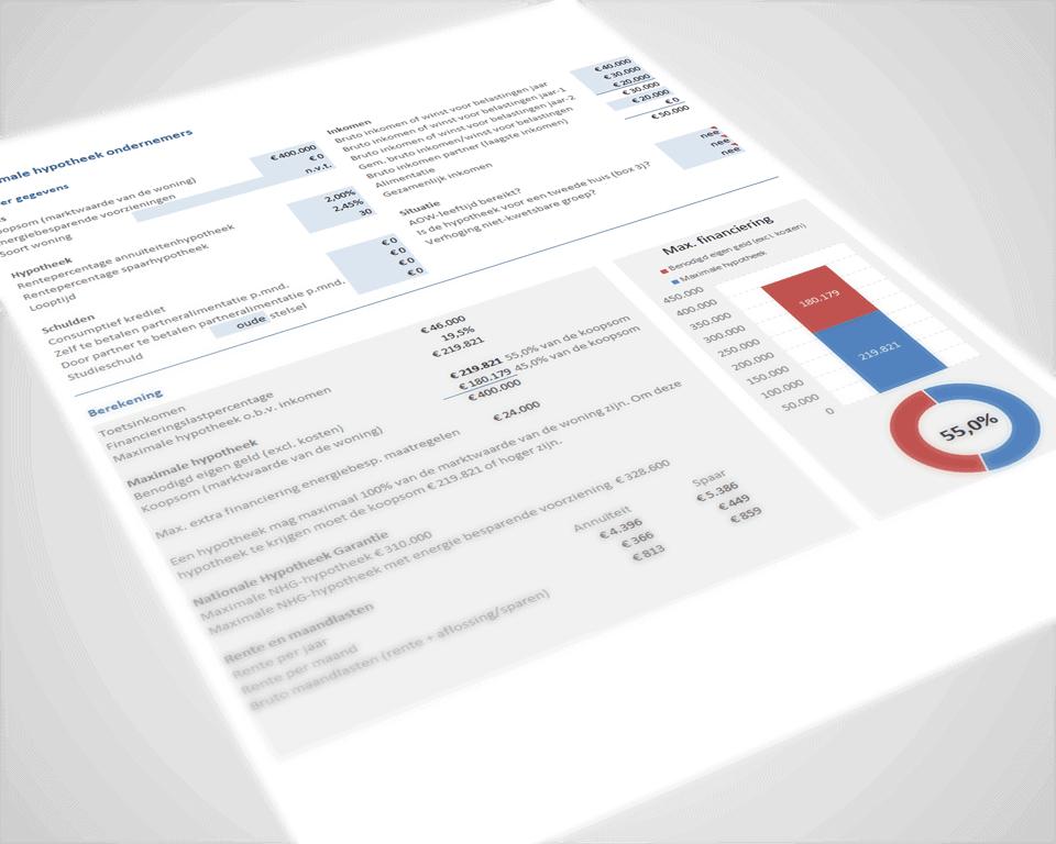 Bereken de maximale hypotheek als ondernemer, DGA of ZZP'er in Excel