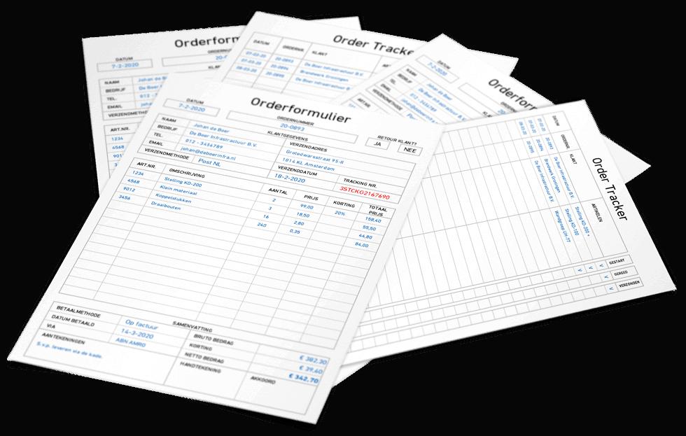 Orderformulier en tracker
