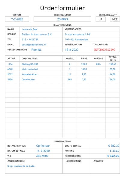 Orderformulier in Excel voorbeeld