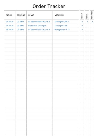 Order tracker voorbeeld