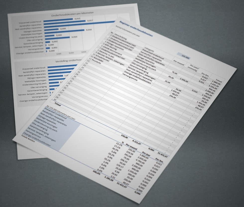 Onderhoud bijhouden in Excel