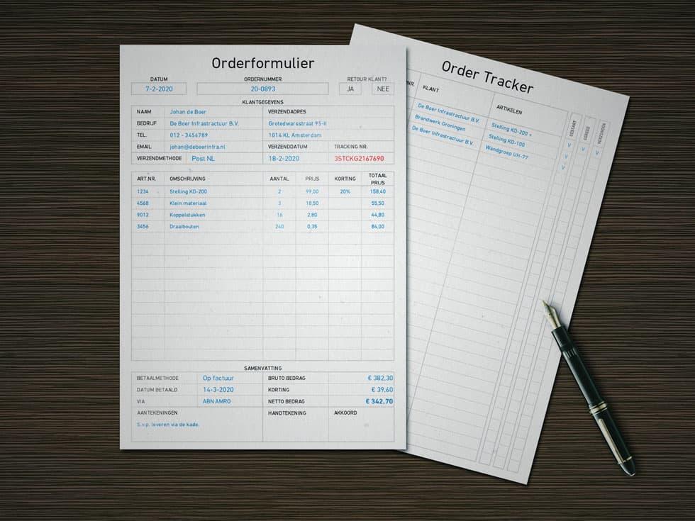 Orderformulier invullen met Excel