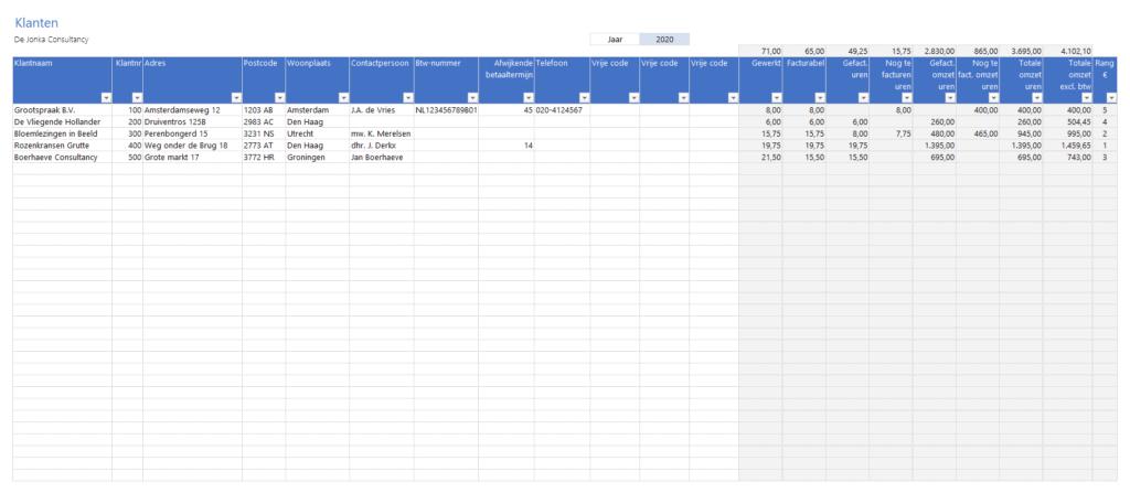 Klanten invullen in een tabel