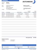 Voorbeeld pakbon in Excel