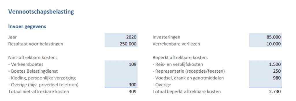 invoer gegevens vennootschapsbelasting berekenen