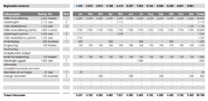 Inkomsten invoeren in het huishoudbudget