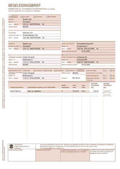 Voorbeeld begeleidingsbrief pagina 1