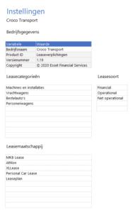 Leasecategorieën kiezen en leasemaatschappijen aanvullen