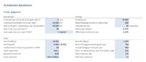 Autokosten berekenen in Excel - invoer gegevens