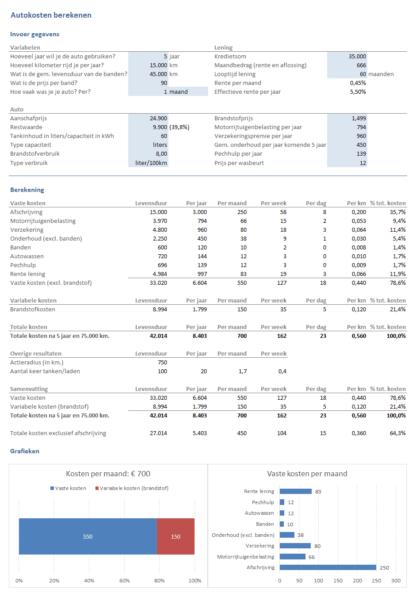 Autokosten berekenen met Excel