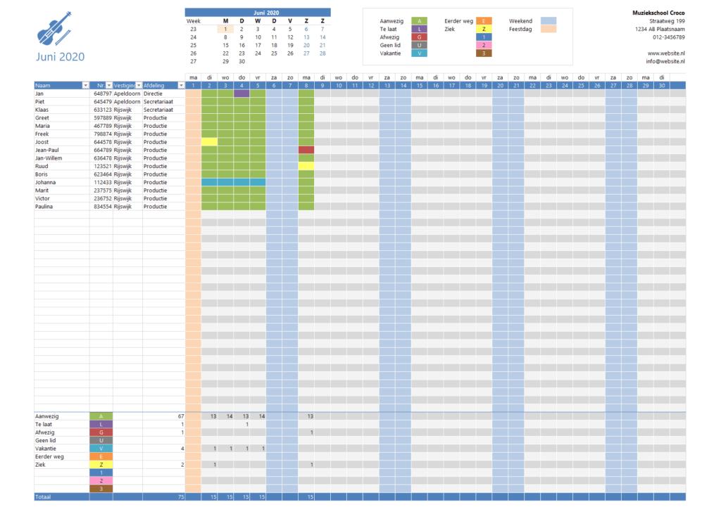 Presentielijst in Excel 1 dag per maand