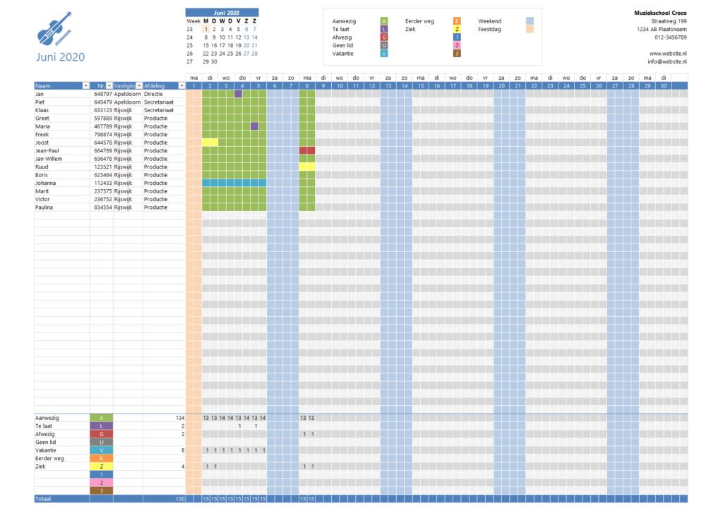 Aanwzigheidsregistratie in Excel 1 dag per maand - 2 presenties