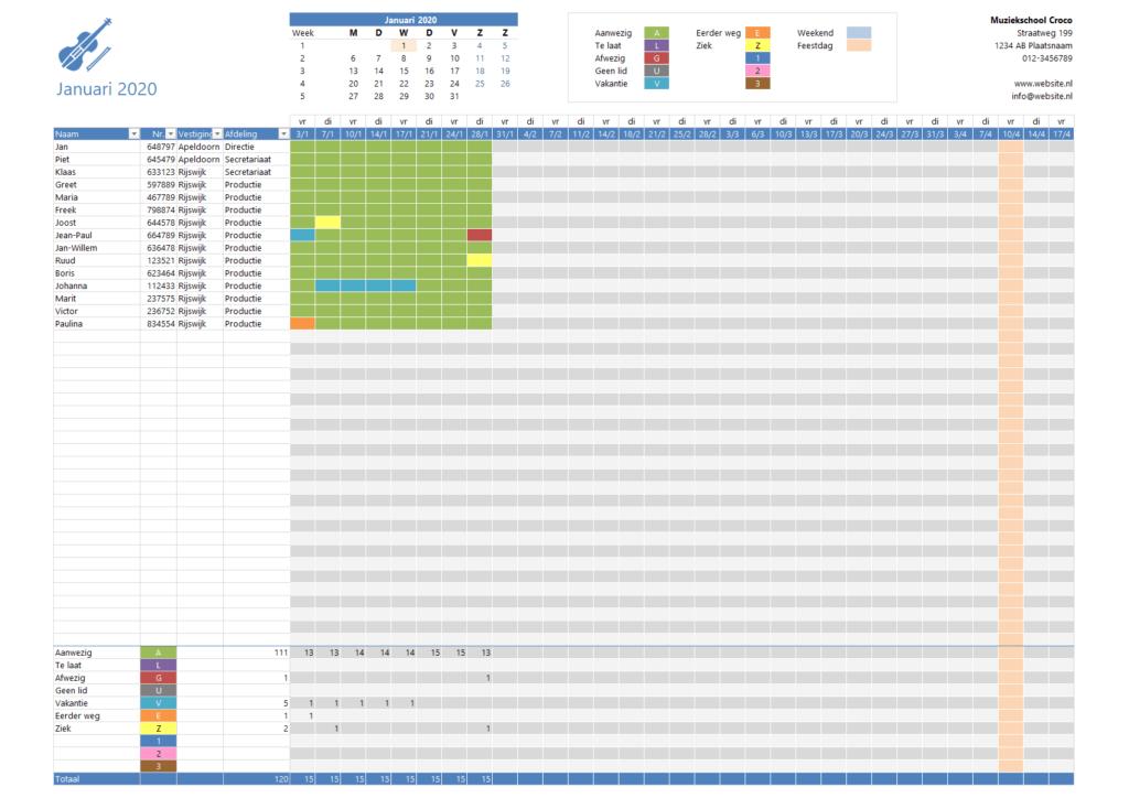Excel presentielijst met vrij instelbare dagen