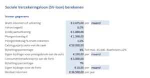SV-loon berekenen in Excel - invoer gegevens