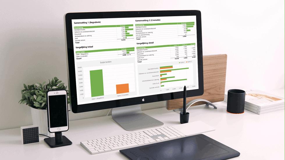 Uitvaartkosten berekenen in Excel voorbeeld