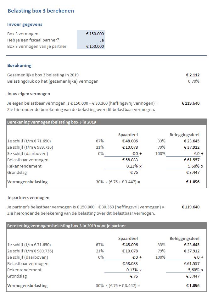 Vermogensbelasting berekenen box 3