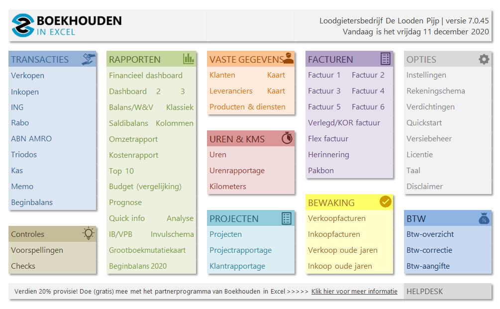 Boekhouden in Excel 7.0 Menu