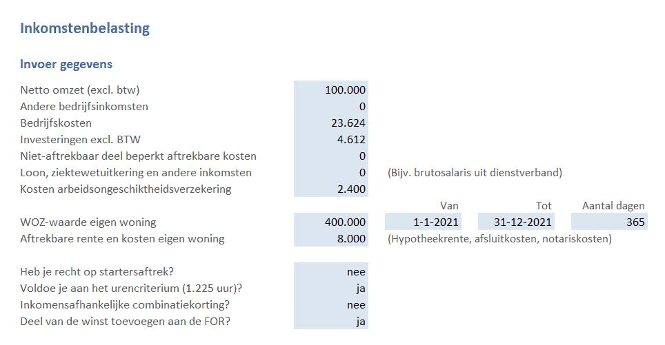 inkomstenbelasting berekenen invoer gegevens
