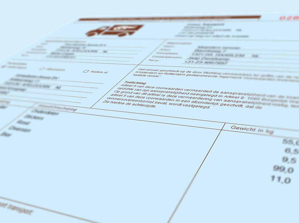 Closeup van de OKRS-koeriersvrachtbrief