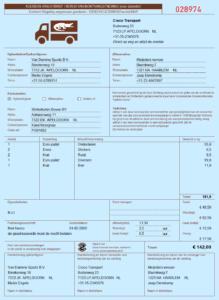 Koeriersvrachtbrief in Excel model OKRS - blauw