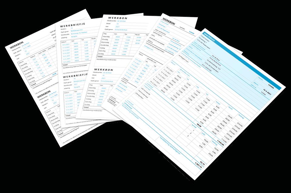Werkbon in Excel ontwerp 1 t/m 5