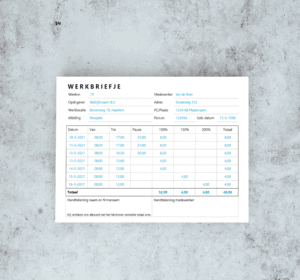 Werkbon in Excel A5