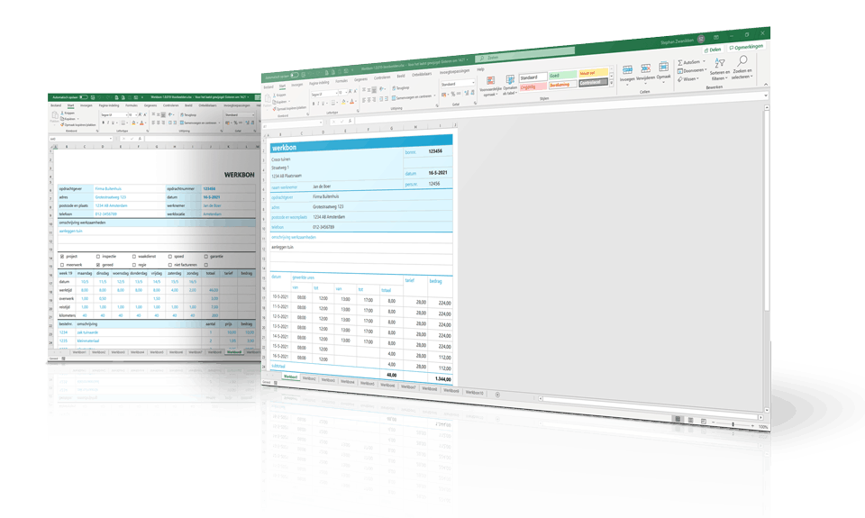 Werkbon in Excel screenshots