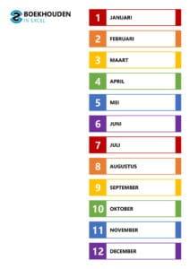 Excel template – inhoudsopgave januari-december tabbladen