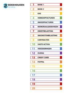 Excel template 2 – inhoudsopgave 1-20 tabbladen