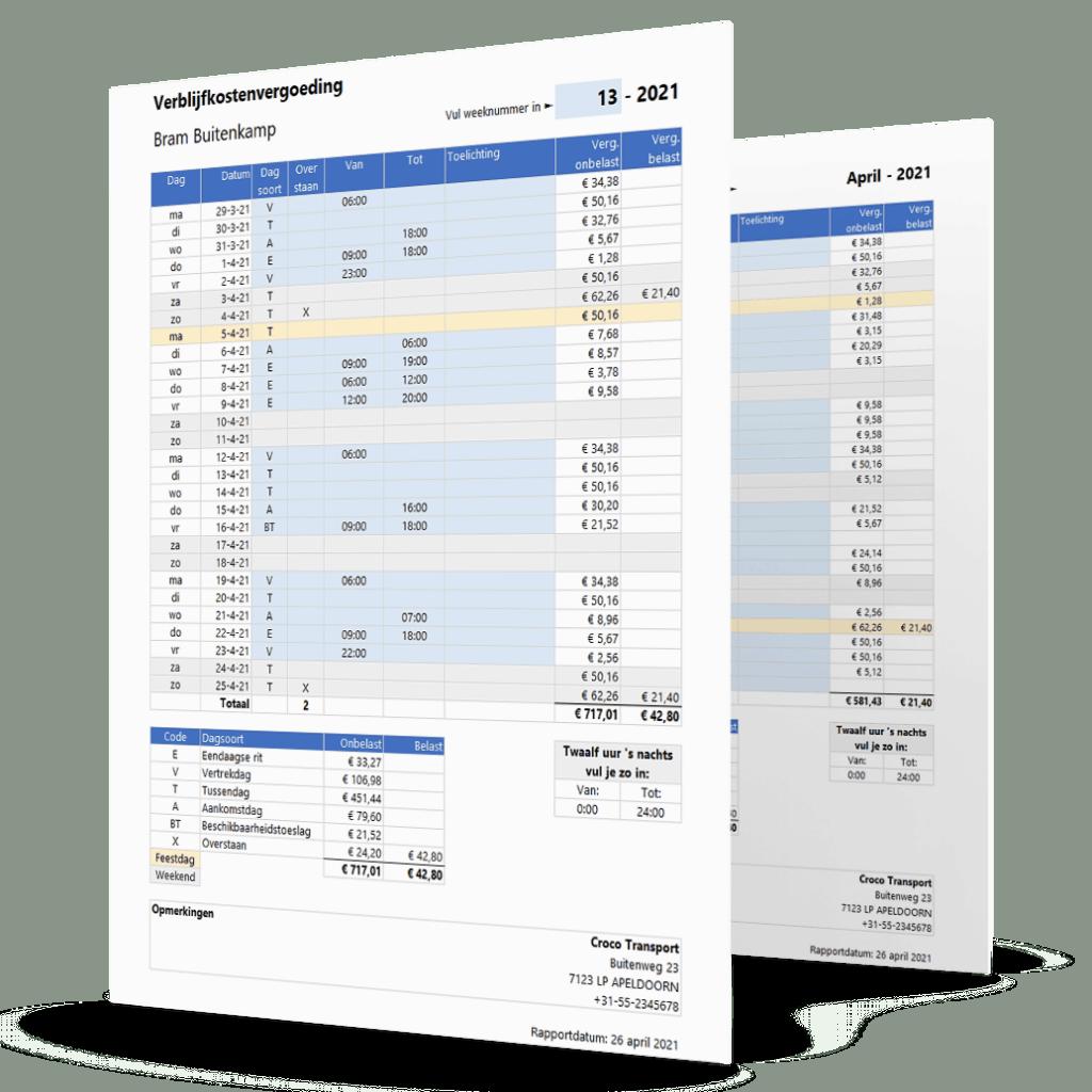 Voorbeeld verblijfskostenvergoeding berekenen in Excel per maand of per 4 weken