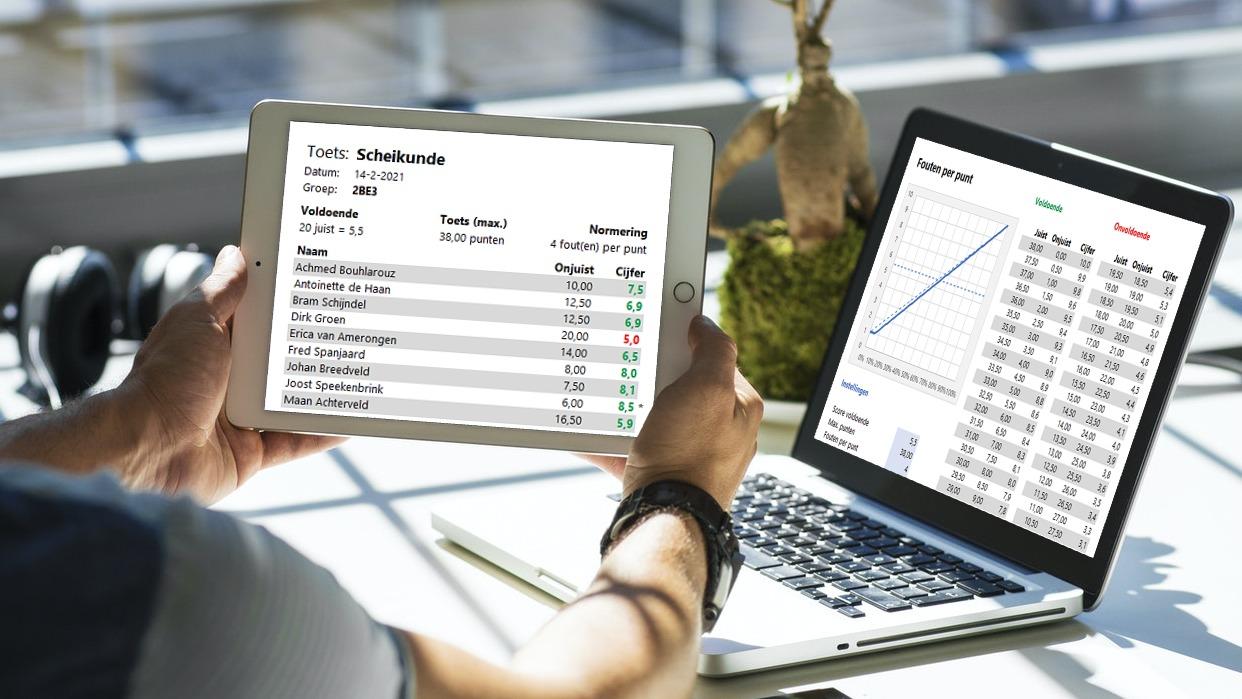 Bereken cijfers in Excel