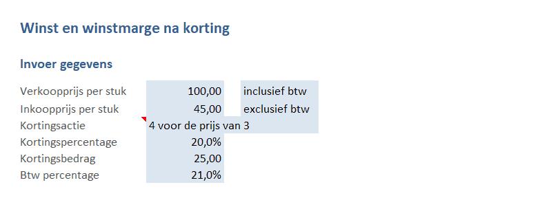 Prijzen invoeren en kortingsactie kiezen