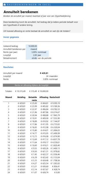Annuïteit berekenen - basis berekeningen in Excel maken