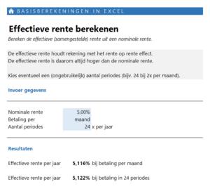 Effectieve rente berekenen - basisberekeningen maken in Excel