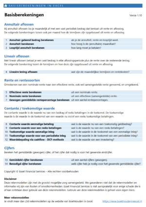 Inhoudsopgave financiële basis berekeningen