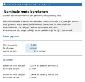 Nominale rente berekenen in Excel