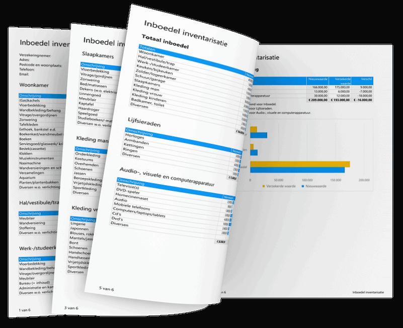Inboedel inventarisatie maken in Excel voorbeeld