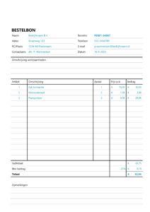 Excel bestelbon