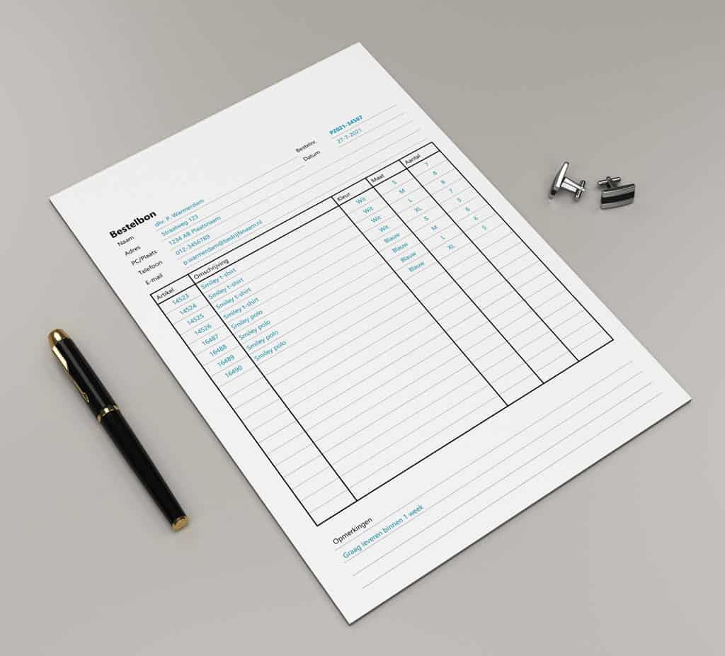 Bestelformulier in Excel maken