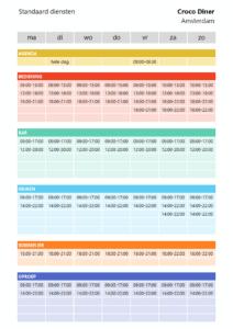 Personeelsplanner in Excel - Standaard diensten