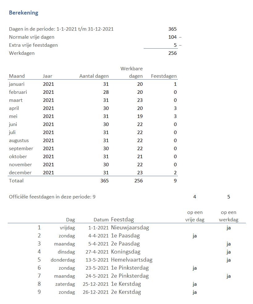 Aantal werkbare dagen berekenen stap 3