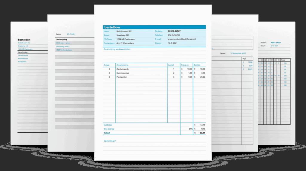 5 bestelbonnen in Excel