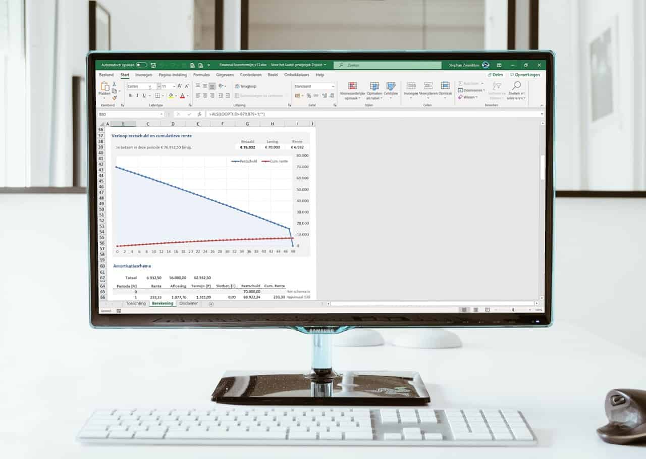 Financial leasetermijn berekenen in Excel