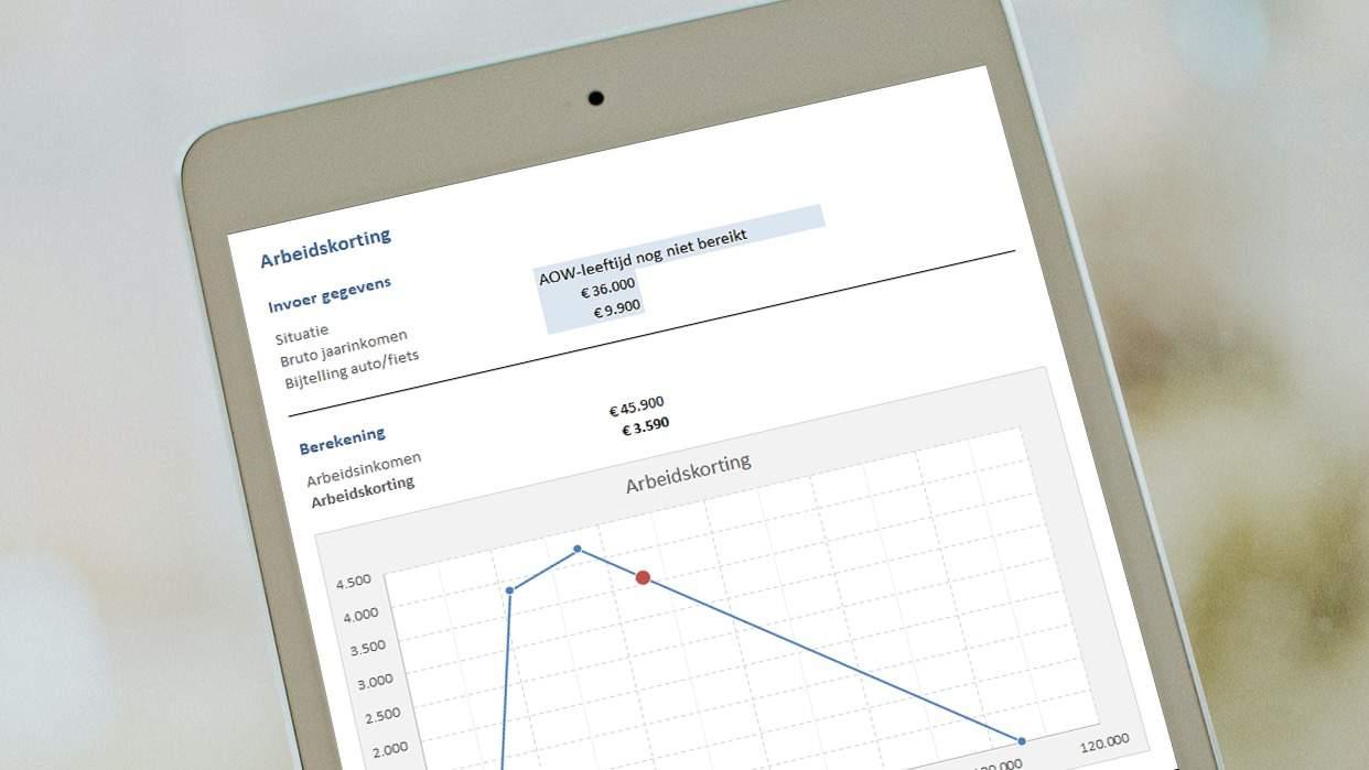 Bereken zelf de arbeidskorting eenvoudig in Excel