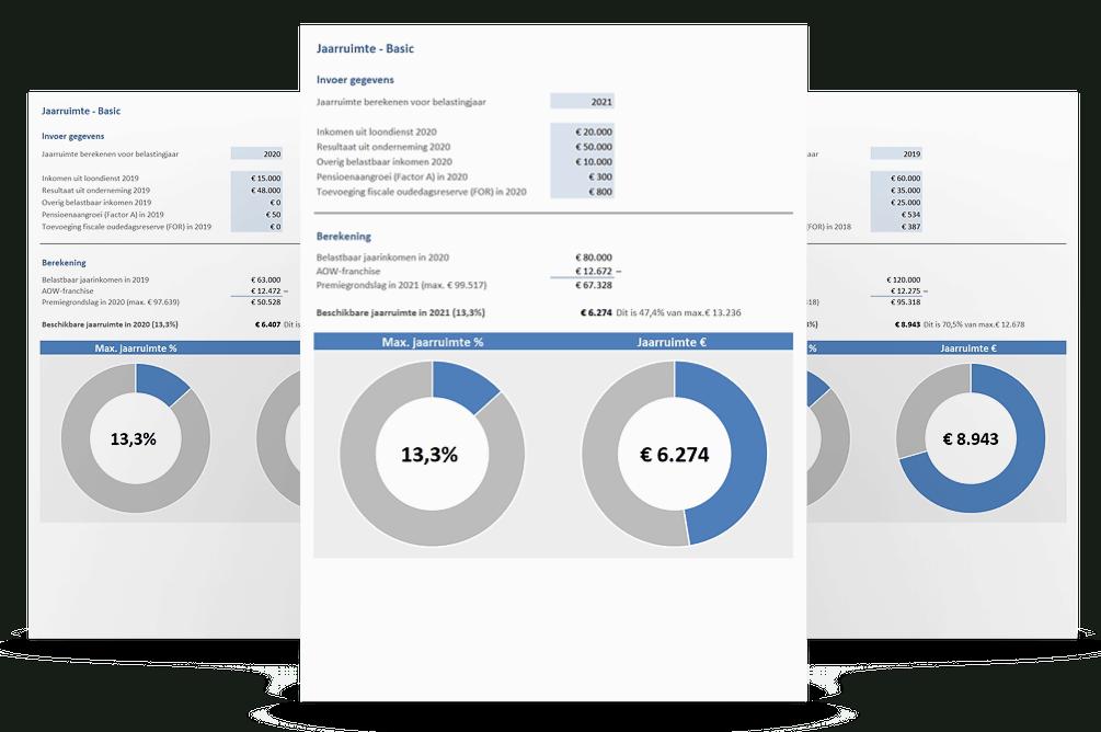 Voorbeelden jaarruimte berekenen in Excel