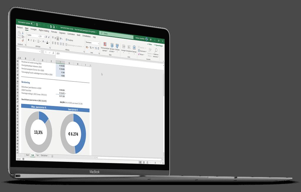 Jaarruimte berekenen in Excel