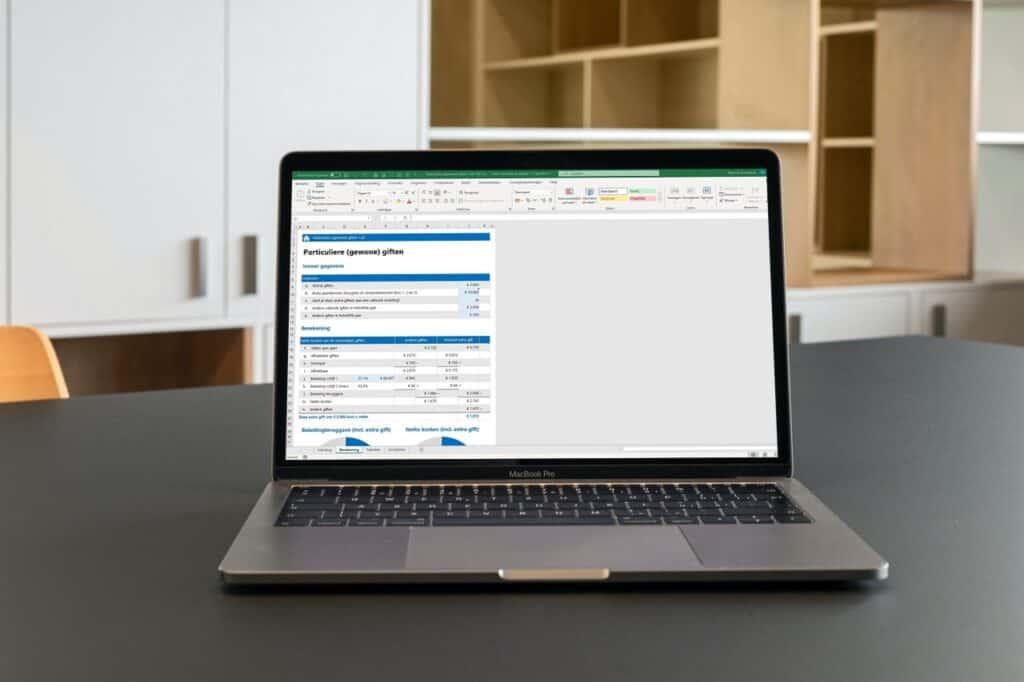 Belastingaftrek gewone giften berekenen in Excel