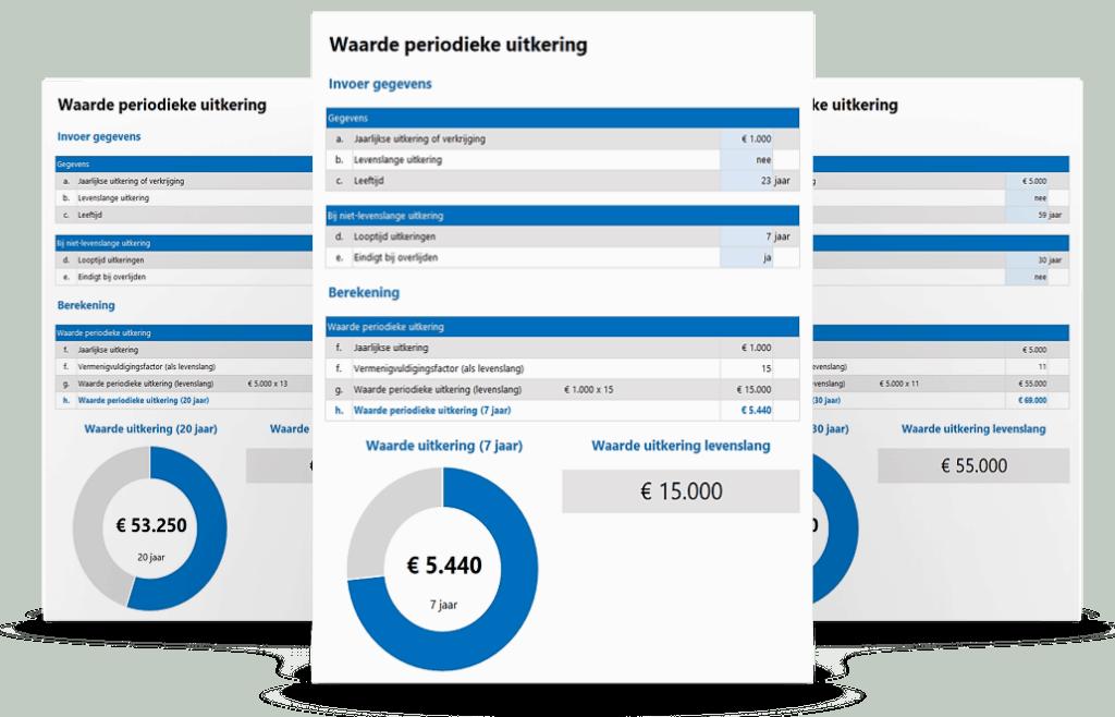 Bereken de waarde van een periodieke uitkering bij erfenis of schenking in Excel